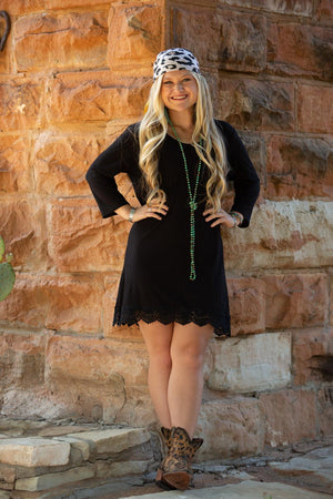 Solid Black Tunic / Dress with Lace Accent