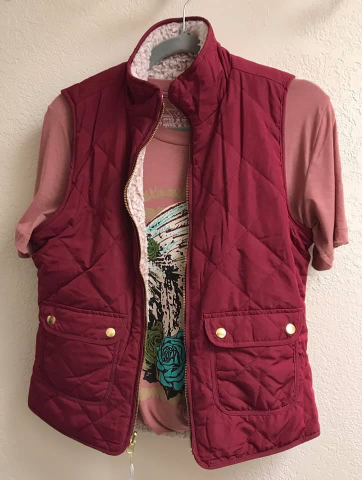 Burgundy Quilted Vest Reversible