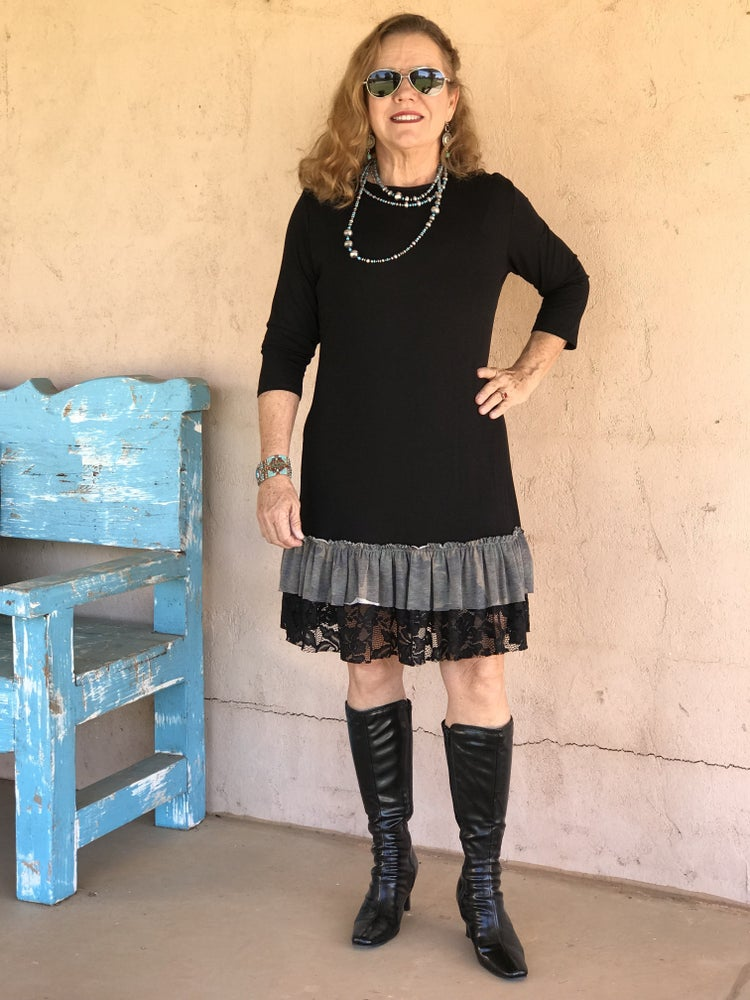 Black & Camo Trim with lace Tunic / Dress