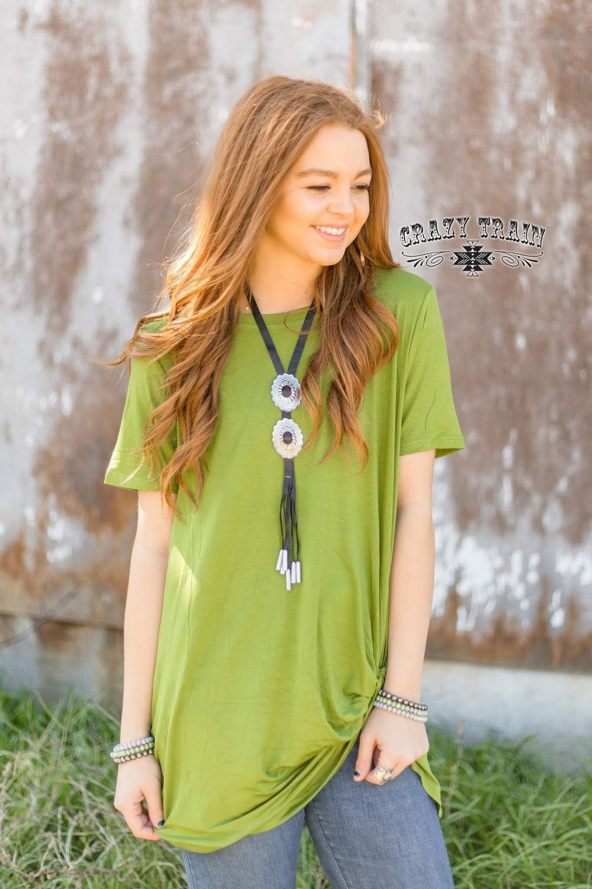 Beautiful Green Knot Top