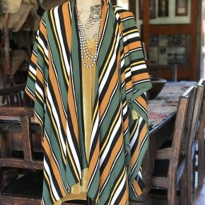 Multi Color Poncho - Green Mustard S- 4XL Plus