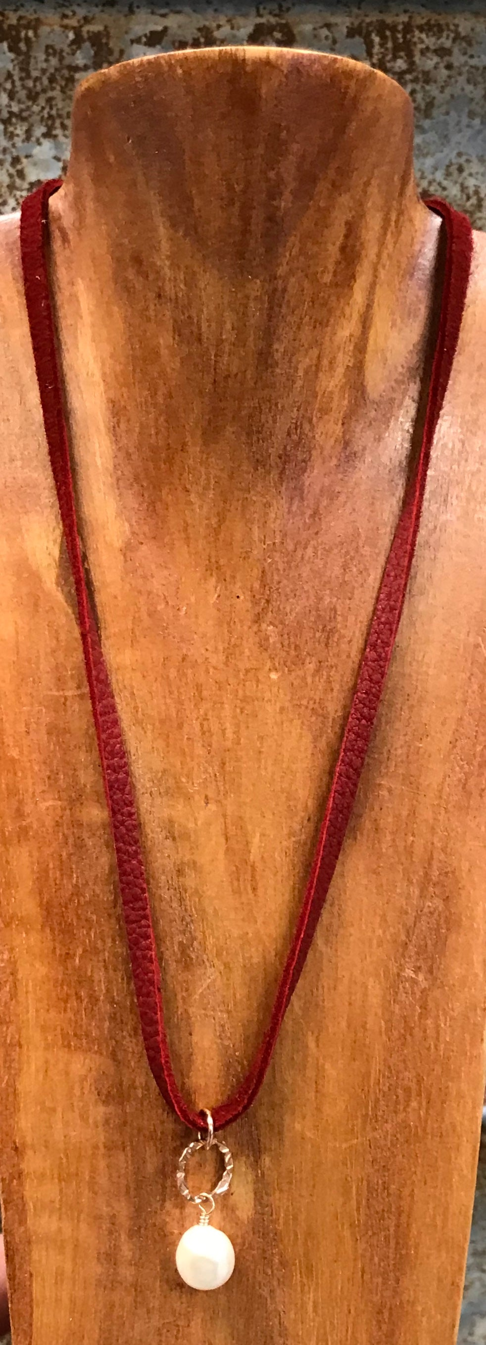 J.Forks Leather Choker With Fresh Water Pearl Necklace