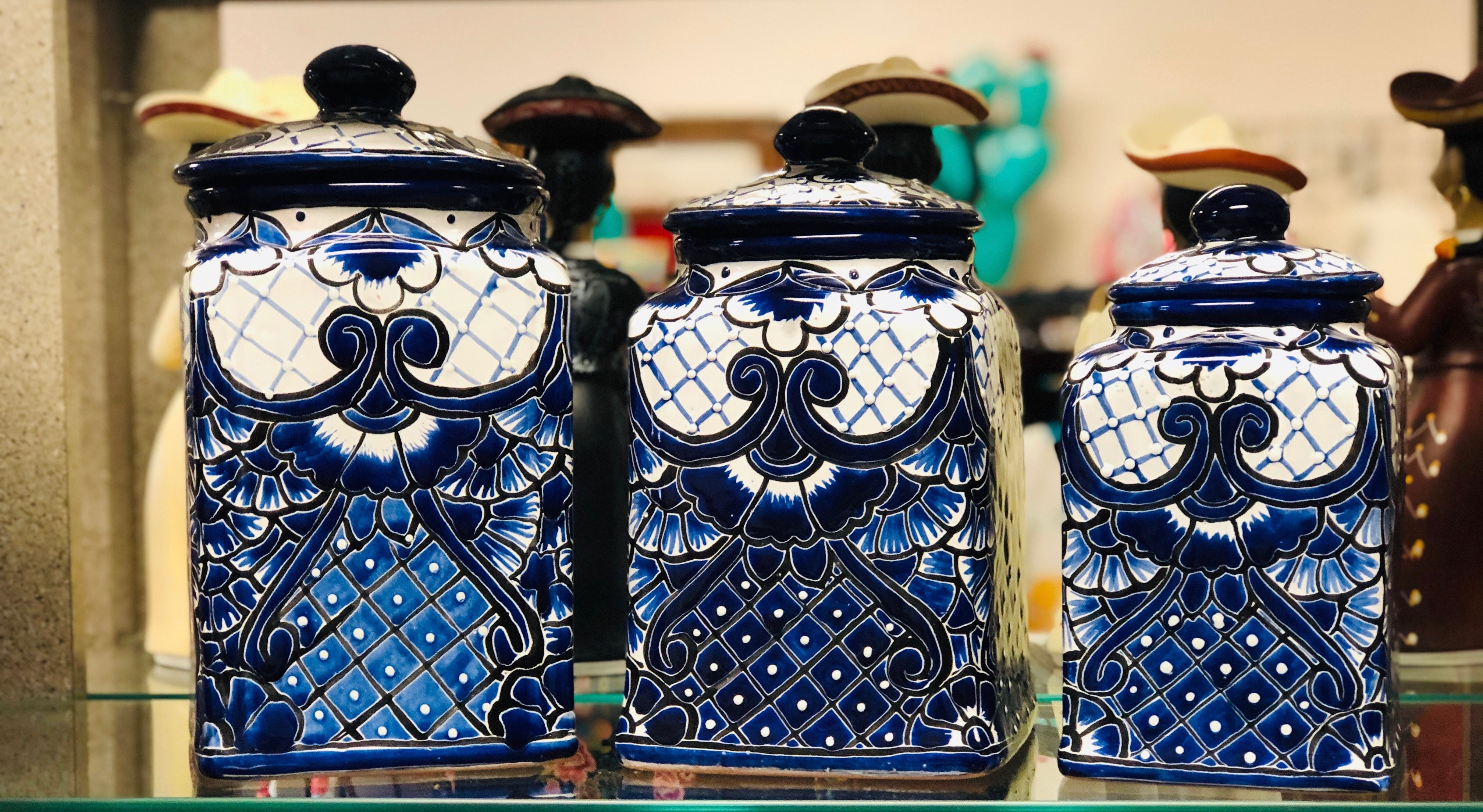 Talavera Traditional Blue Large Canister Set - MUST PICK UP