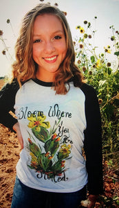 Bloom Where You are Planted Ragland / Baseball Type T-Shirt