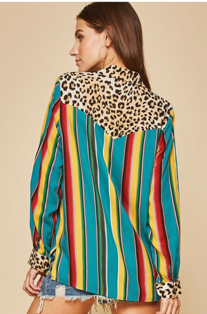 Turquoise Serape Leopard Button Down  Mutil Color Savanna Jane Shirt