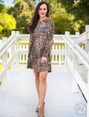 Long Sleeve Leopard Tunic / Dress with Serape Pocket