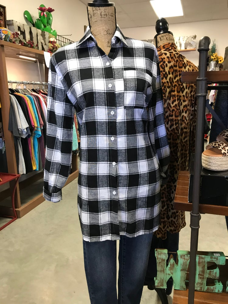 Black White Buffalo Check Plaid Long Sleeve