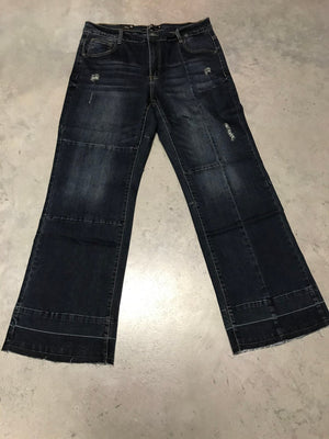 Hippi Chic Jeans Flared Leg & Lightly Distressed with Seams