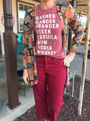 Dasher Dancer Prancer Vixen Tequila Rum Vodka Whiskey Holiday Shirt Christmas