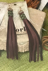 J.Forks Leather Tassel Beaded Earrings in Dark Brown
