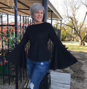 Black Velvet ribbed blouse w/bell sleeves