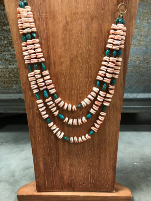Oyster Bronze and Turquoise Necklace by J.Forks