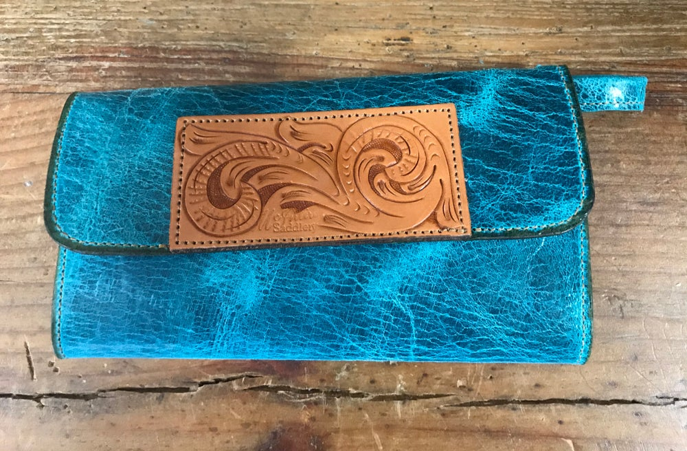 Turquoise Leather Hand Tooled Wallet Mc Intire Saddlery