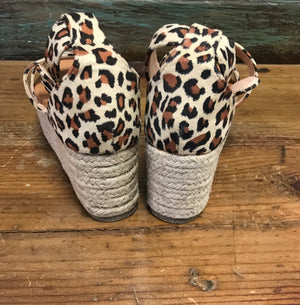 Leopard Wedge Espadrille Sandals Shoe