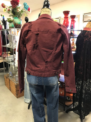 Distressed Burgundy Wine  Denim Jacket