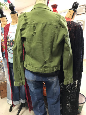 Distressed Olive Green Denim Jacket