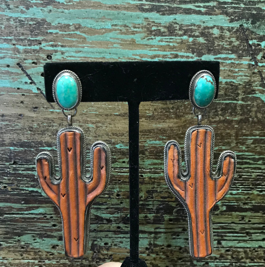 J.Forks Sterling Silver Set - Leather Saquaro & Turquoise Earrings