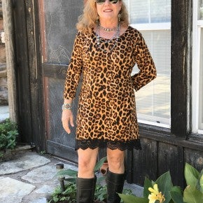 Leopard Print Dress/Tunic w/Lace ruffle