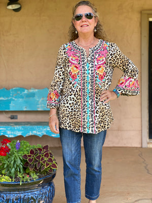 Maggie's Leopard Tunic Top with Keyhole Front Savannah Jane