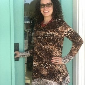 On/Off the Shoulder Leopard Print Tunic