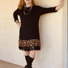 Black dress With Leopard Ruffle