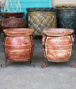 Light Rush Small Barrel Pot with Metal Feet - MUST PICK UP