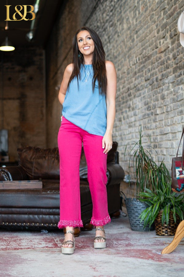 Pink Boyfriend Colored Fringe Jeans