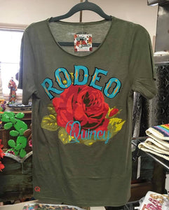 Rodeo Quincy Raw Neck Rose Tee