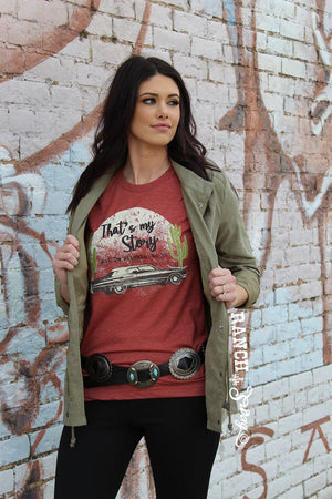 That's My Story T-Shirt - Cactus - Cadillac -Western Graffic Tee