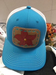 Turquoise Cap with Leather Tooled Red Flower McIntire Saddlery