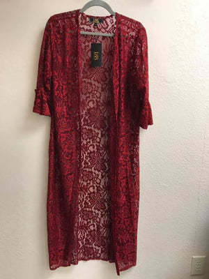Wine Red Lace Duster