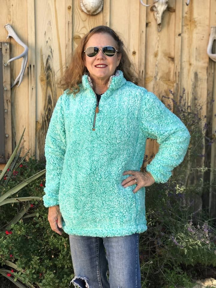 Sherpa Pull Over  Teal and Brown