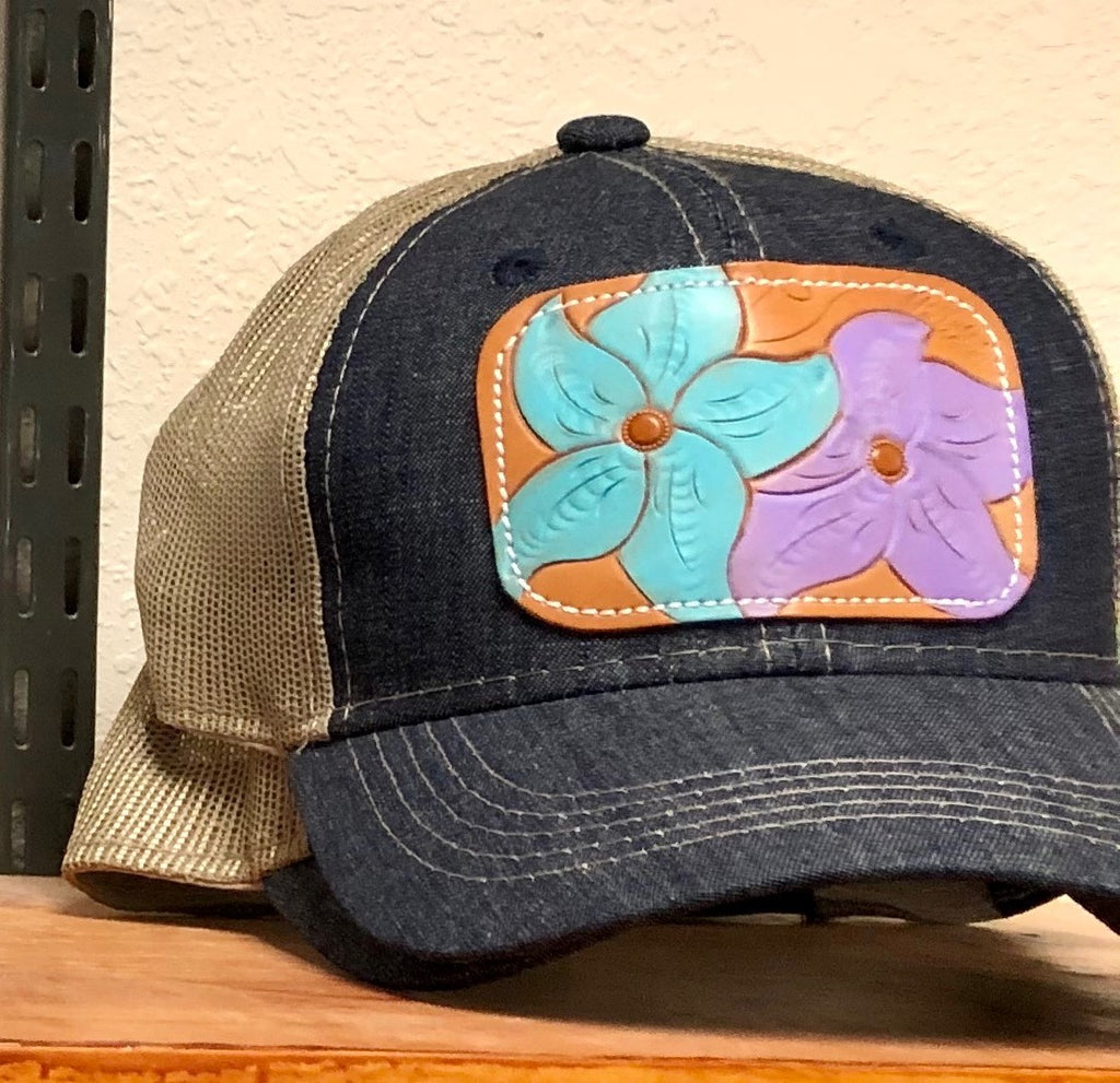 Denim Cap with Leather Tooled flowers McIntire Saddlery