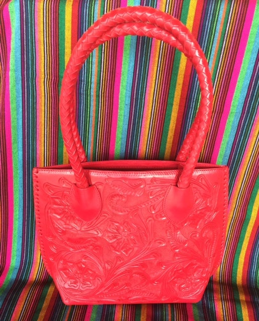 Red Leather Bolsa Purse Handbag