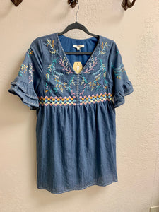 Chambray v neck dress with ruffle sleeves and floral embroidery