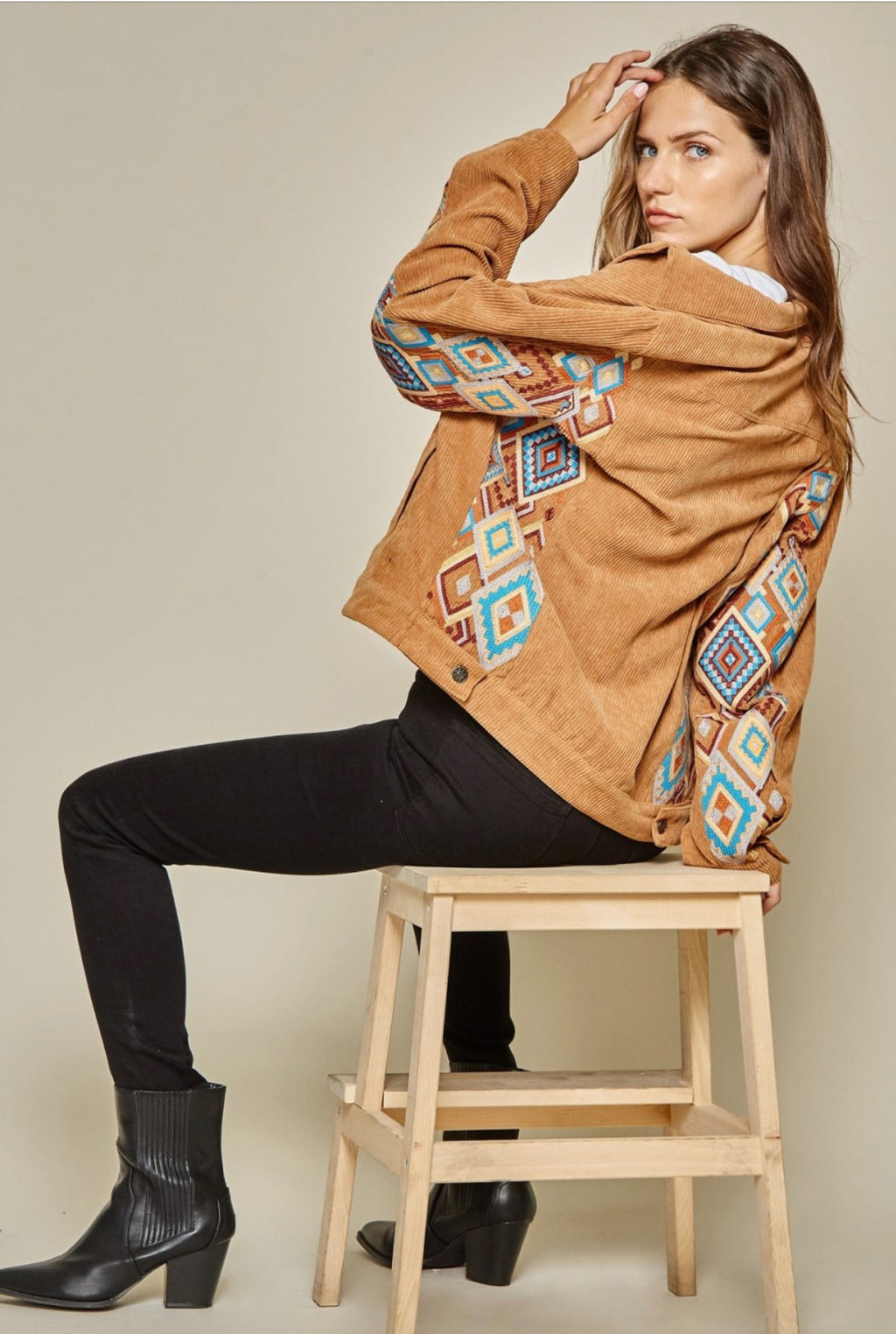 Camel Corduroy Jacket Embroidered Aztex Savanna Jane