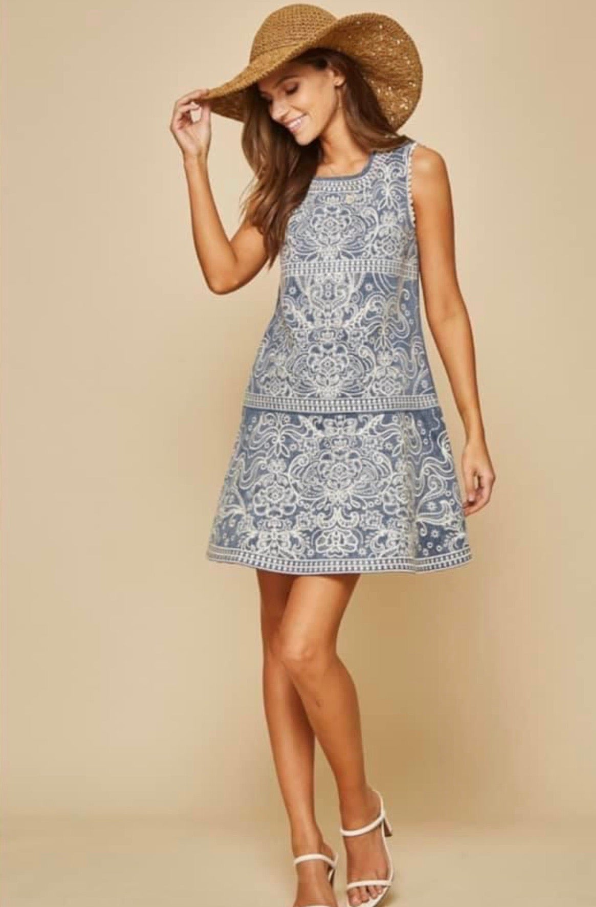 Savanna Jane Denim Embroidered Dress
