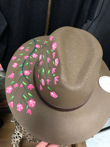 Hand Painted - Ladies Medium - Brown with Pink Hat