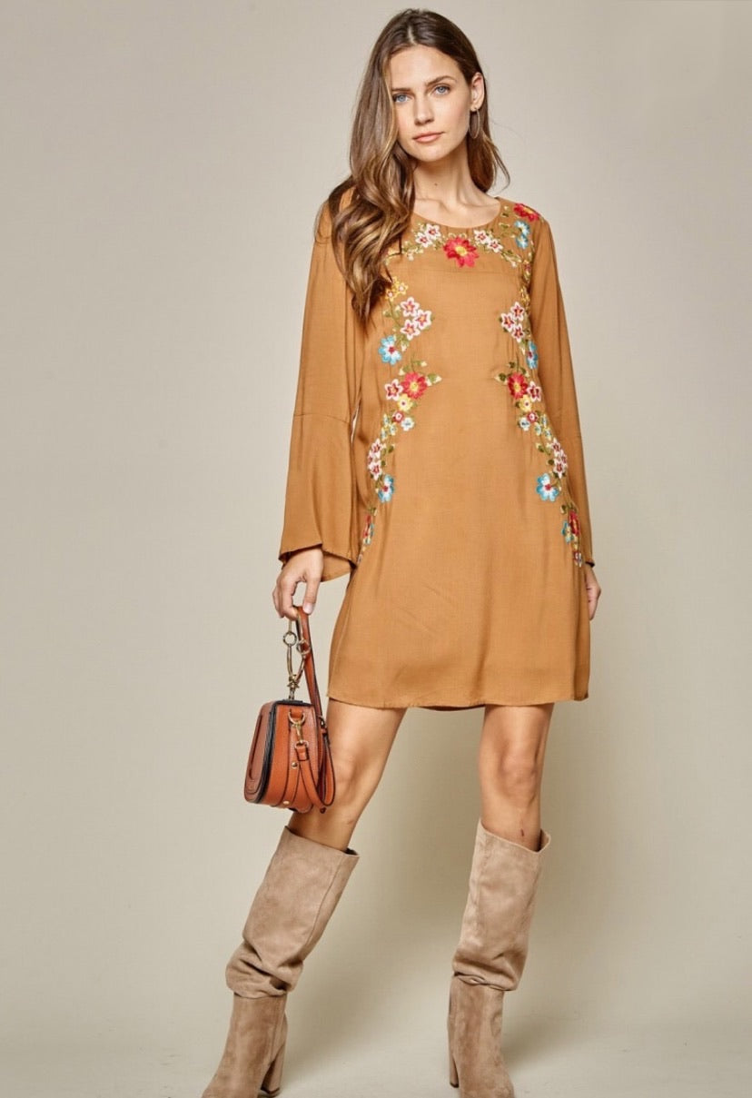 Savanna Jane Embroidered Camel Dress Long Sleeve