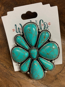 Turquoise and silver cluster pin