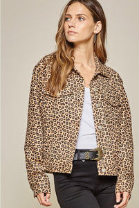 Savanna Jane Leopard Utility Jacket Button Down Embroidery Back