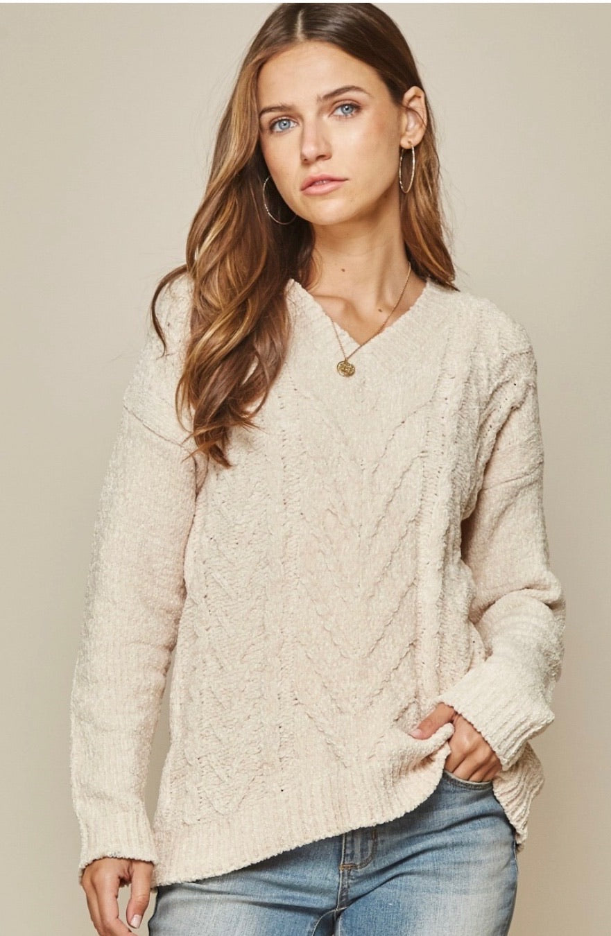 Cream V Neck  Cable Knit Sweater Long Sleeve