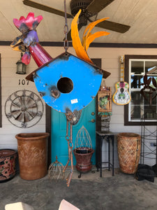 Chicken Rooster Bird House - Metal Art