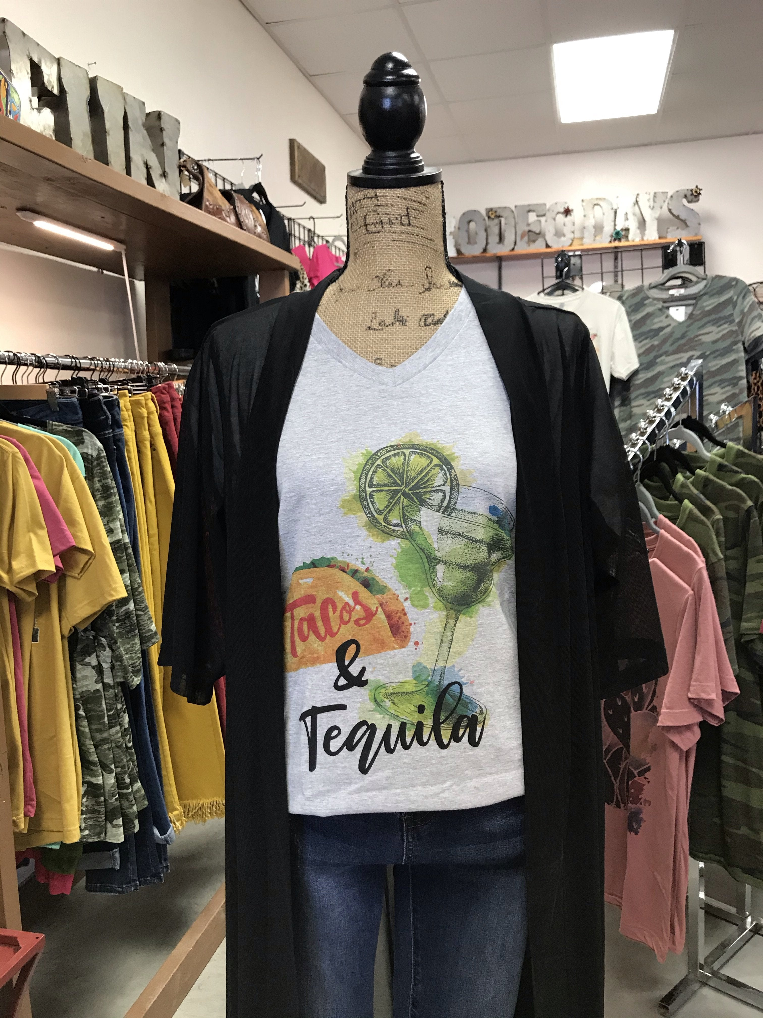 Tacos & Tequila V-Neck T-Shirt Taco Tuesday Tee
