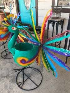 Turquoise Peacock Spinner - Planter - MUST PICK UP