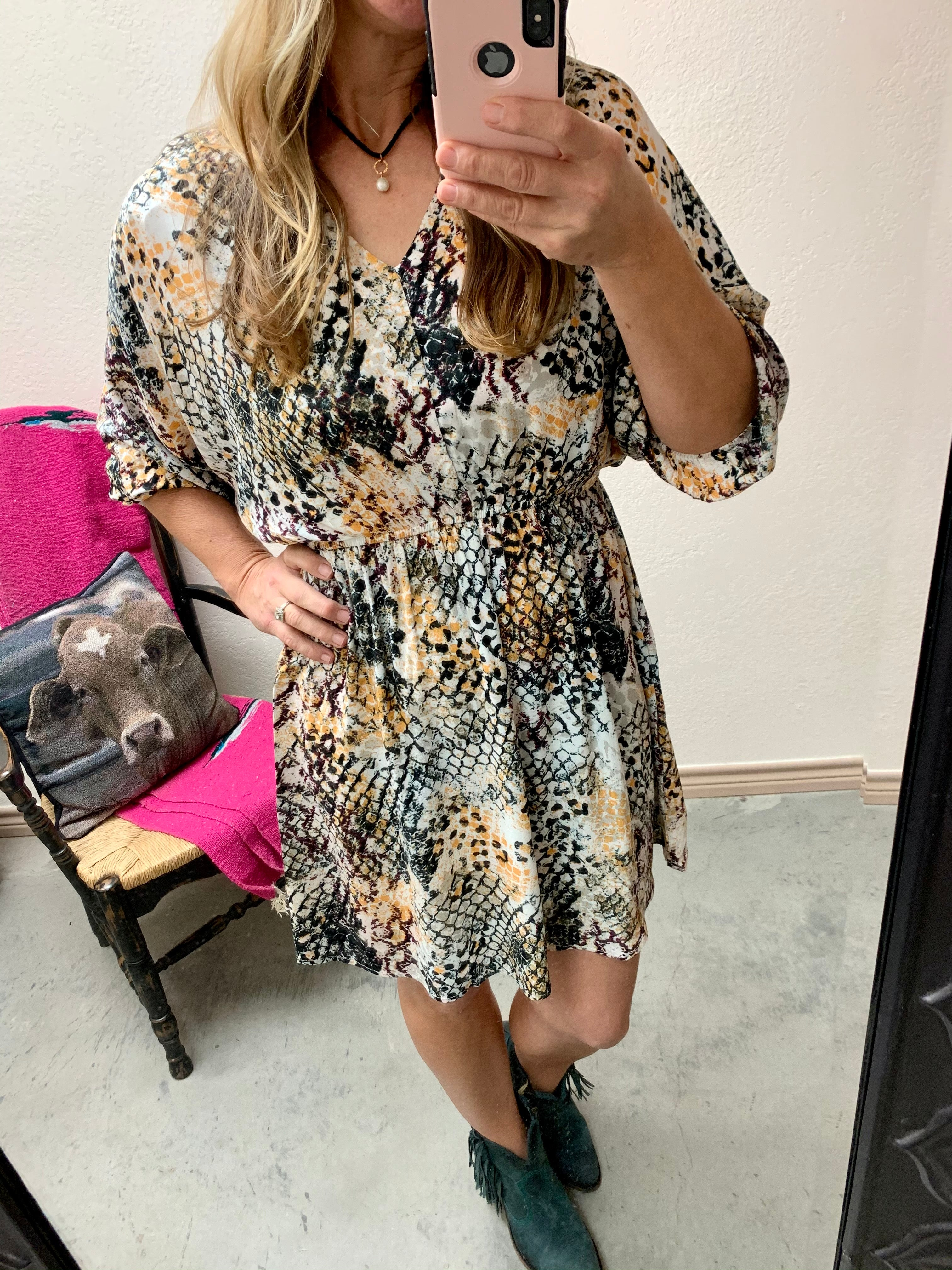 Savanna Jane rust black snake print dress