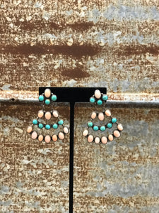 Chandelier Tiered  Sterling Silver Native American Custom Turquoise Earrings