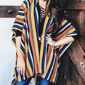 Multi Color Poncho  S- 4XL