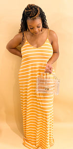 Lucky Stripe Dress- Mustard