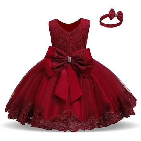 Red Flower Lace Pageant Party Dress  with Bowknot